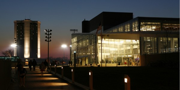 Image of campus at night.